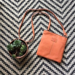 NWOT Fossil orange genuine leather crossbody